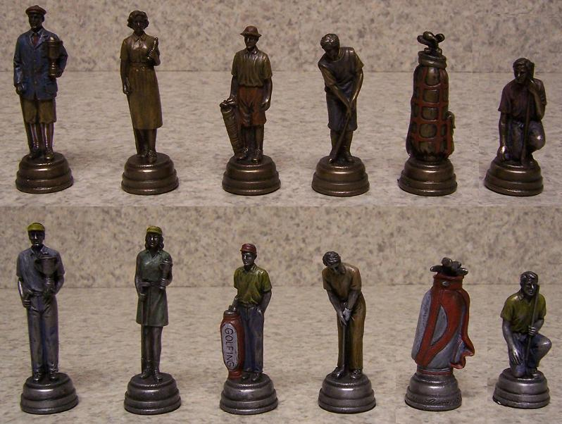 chess set pieces sports golf past and present nib ebay. Black Bedroom Furniture Sets. Home Design Ideas