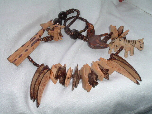 Vintage hand carved wood african animal fetish necklace ebay
