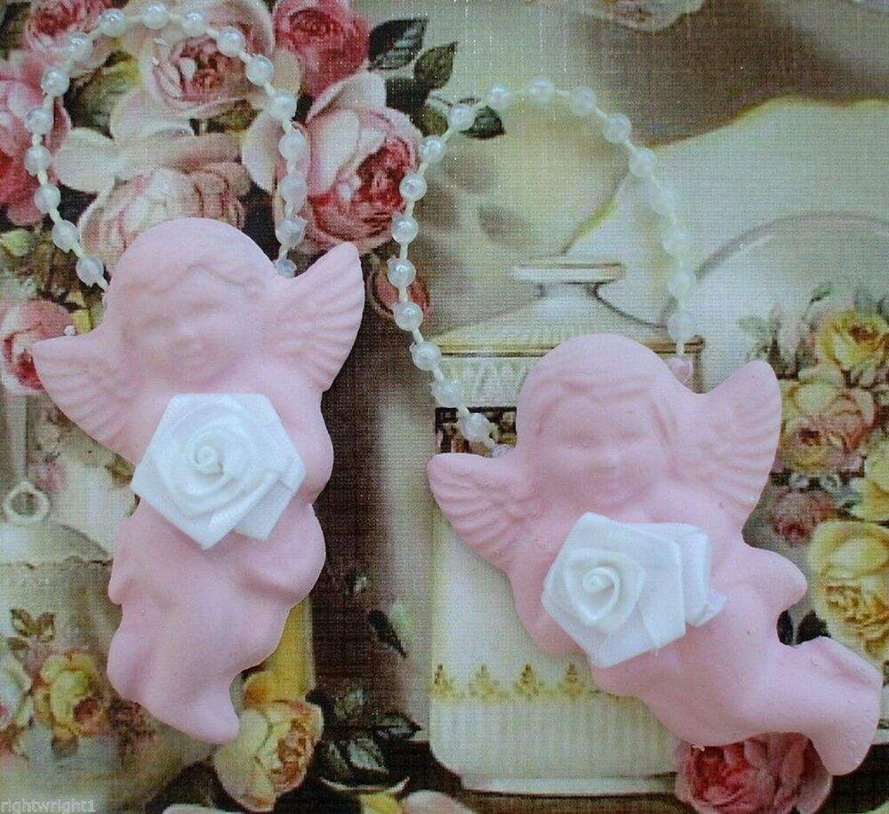shabby cherub plaque pair chic pink rose cottage decor ebay. Black Bedroom Furniture Sets. Home Design Ideas