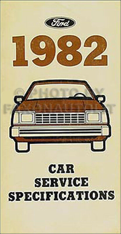 1982 Lincoln Service Specifications Manual Town Car Mark Vi Continental 82