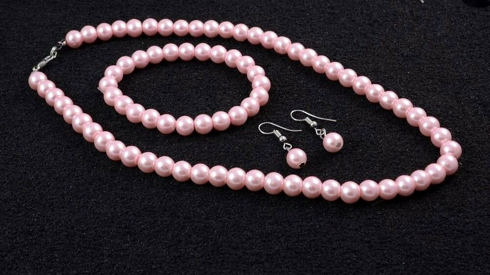 Pink Faux Pearl Necklace With Earrings And Bracelet Ebay