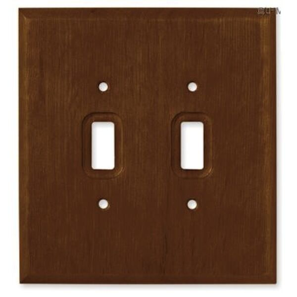 126427 Dark Oak Wood Double Switch Plate Cover Ebay
