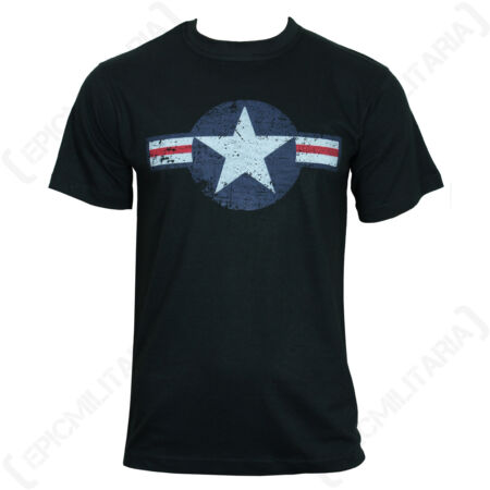 img-Black USAF T-Shirt - US American Air Force Roundel Star Stripes Top T Shirt New
