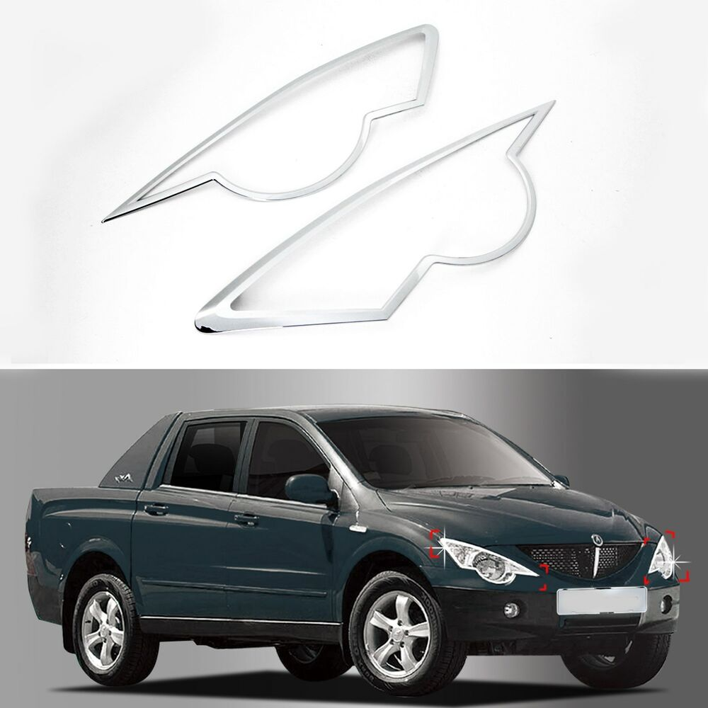 chrome headlight lamp molding trim cover for 06 ssangyong actyon sports tradie ebay. Black Bedroom Furniture Sets. Home Design Ideas