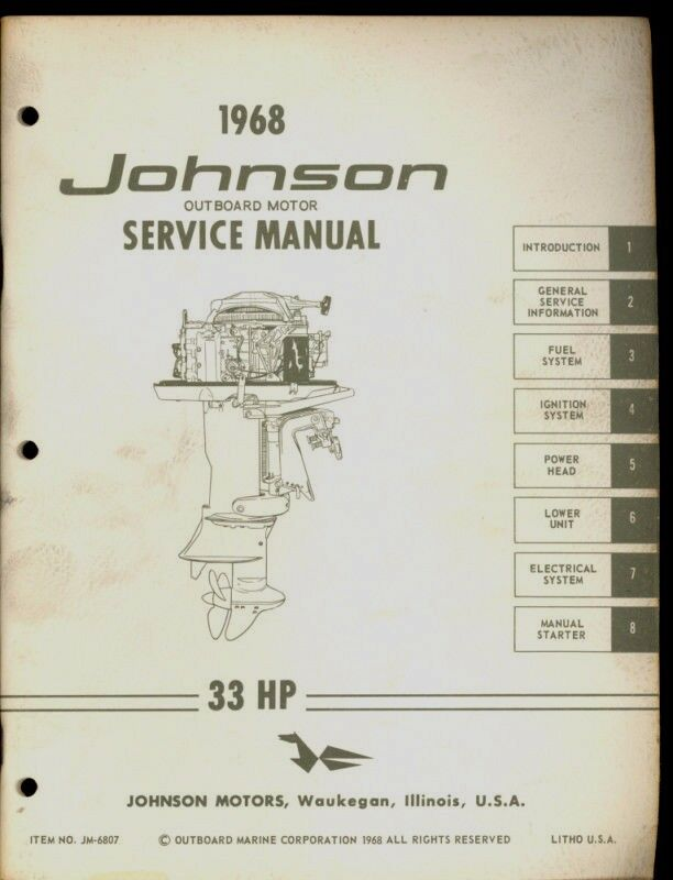 1968 johnson outboard motor 33 hp service manual ebay for Yamaha 9 9 hp outboard motor manual