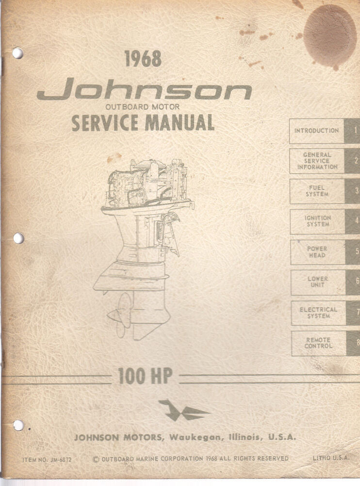 1968 johnson outboard motor 100hp service manual ebay. Black Bedroom Furniture Sets. Home Design Ideas