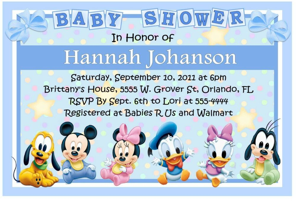baby mickey disney babies baby shower invitations  ebay, Baby shower