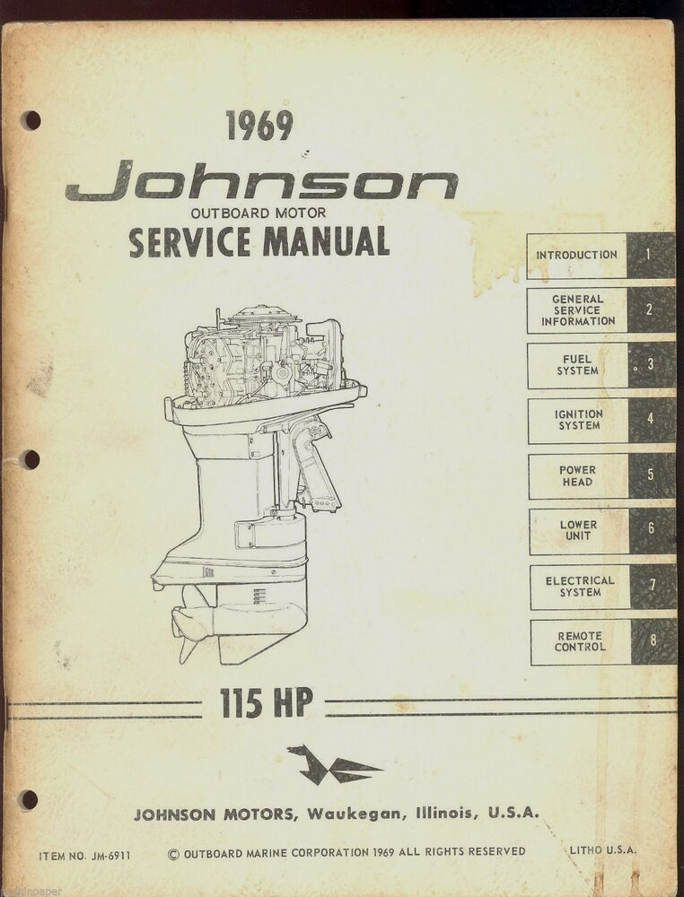 1969 johnson outboard motor 115 hp service manual jm for 55 johnson outboard motor