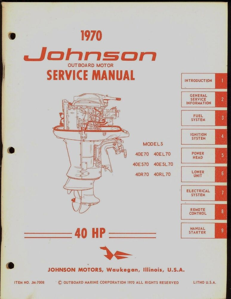 1970 johnson outboard motor 40 hp service manual   jm 7008 80 HP Johnson Outboard Motor 80 HP Johnson Outboard Motor