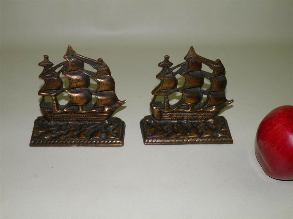 Antique solid bronze bookends galleon nautical ship ebay - Antique brass bookends ...