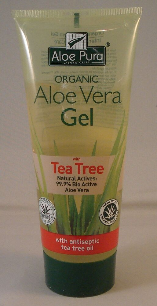 aloe pura organic aloe vera gel tea tree 200ml ebay. Black Bedroom Furniture Sets. Home Design Ideas