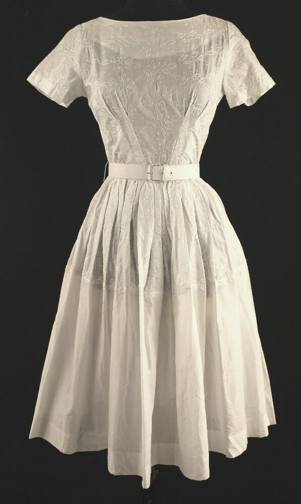 vintage 1960 s deadstock white embroidered dress sz 2 ebay