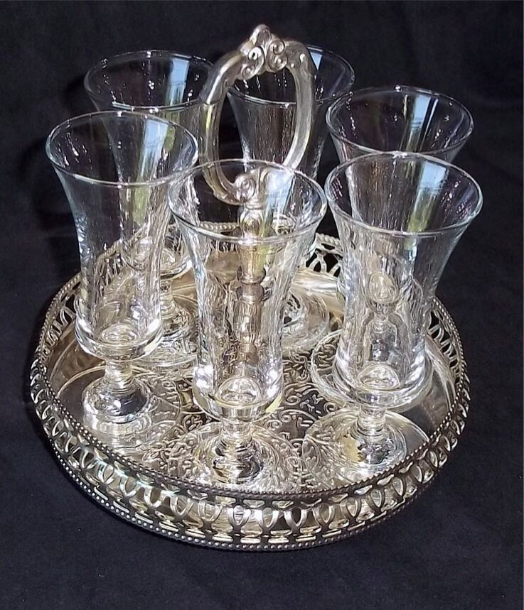 Vintage Cordial Set 6 Cordial Glasses In Silver Plated