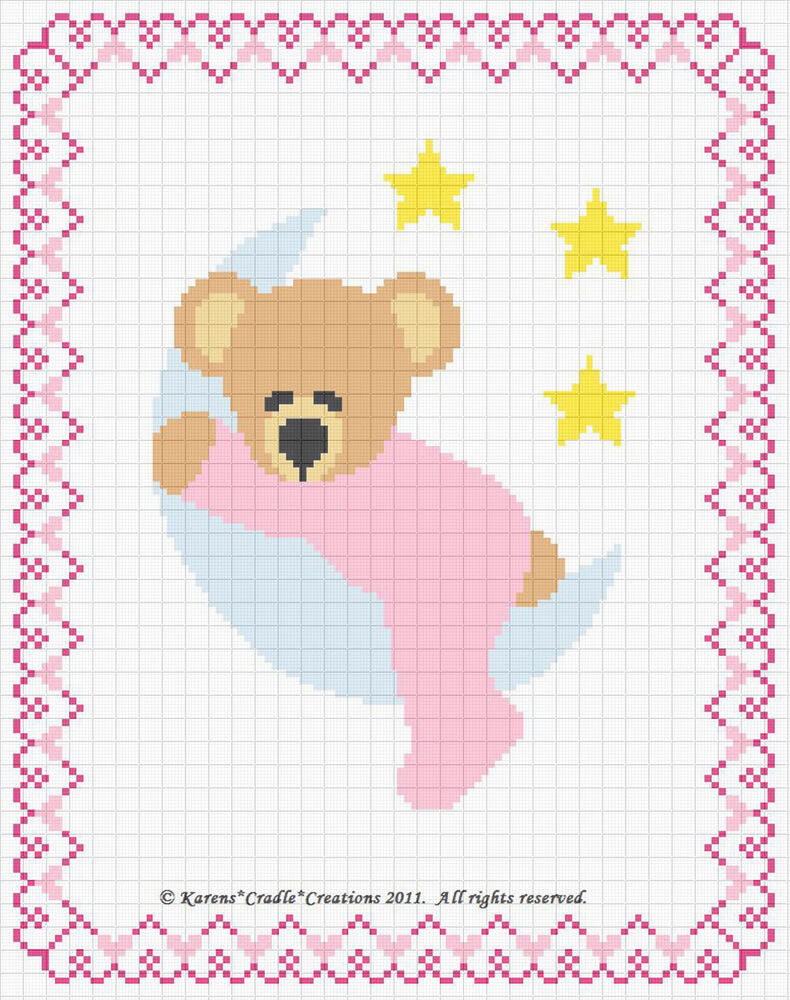 sleepy bear on the moon counted cross stitch pattern chart. Black Bedroom Furniture Sets. Home Design Ideas
