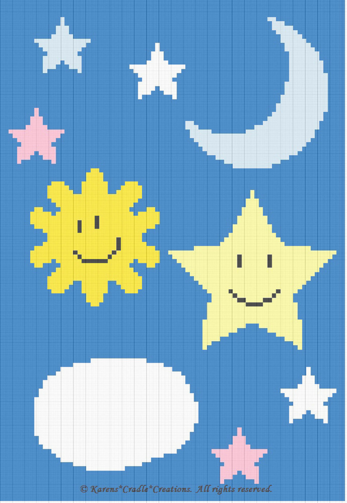 Crochet Pattern Celestial Sun Moon Cloud Stars Baby