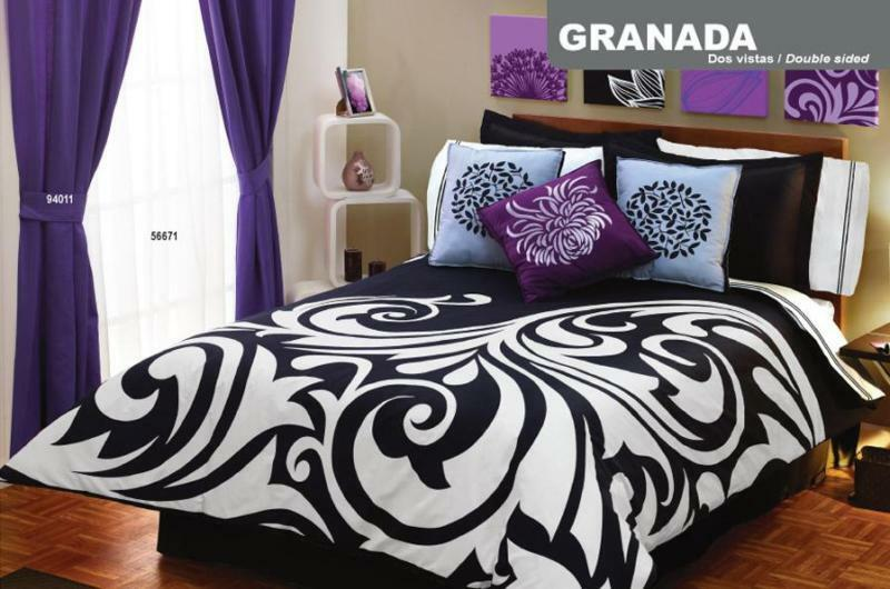 New black white duvet comforter bedding sheet set full curtains ebay for Complete bedroom sets with curtains