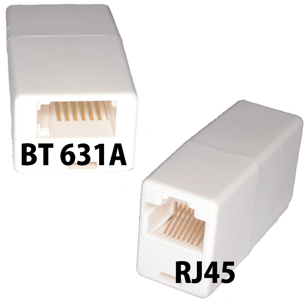 bt to rj45 cable connector cord coupler 601a isdn cat5e cable adapter adaptor ebay. Black Bedroom Furniture Sets. Home Design Ideas