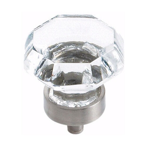 Glass Kitchen Cabinet Door Knobs: Amerock Satin Nickel & Clear Glass Cabinet Knobs BP55268