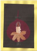 (06207) Greeting Card - Candle -  hand made from rice straw blank inside
