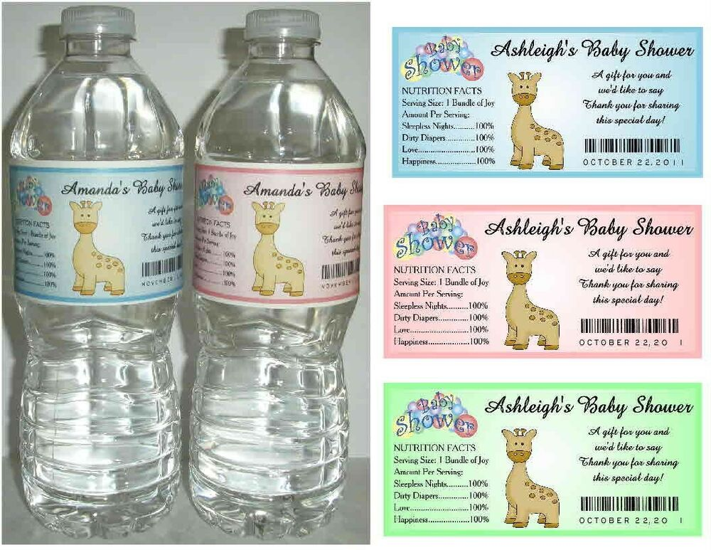 20 giraffe baby shower favors water bottle labels glossy