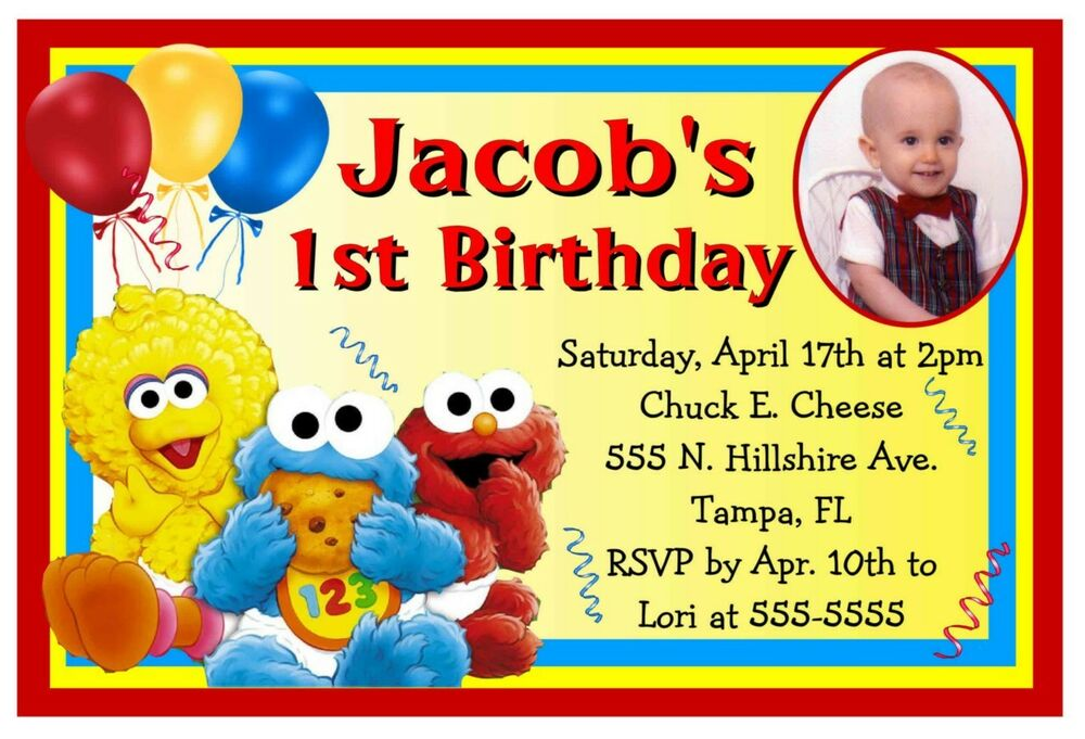 BABY SESAME STREET ELMO BIRTHDAY PARTY INVITATIONS w/photo ...