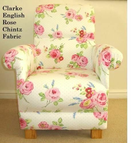 Clarke english rose chintz fabric chair bedroom floral for Chintz couch