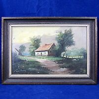 Vintage Original Framed Landscape Oil Painting on Wood by Pieter Van Mol