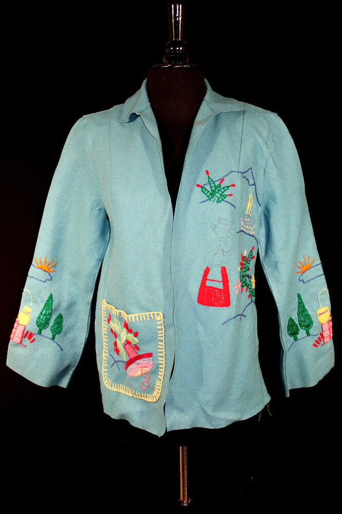 Vintage s turquoise wool felt embroidered mexican