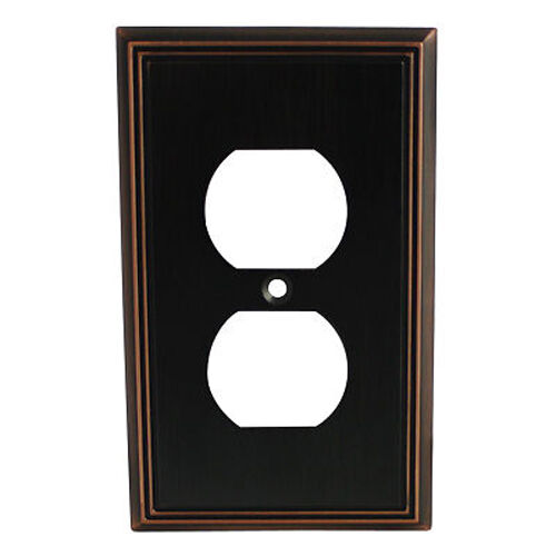 Electrical Wall Plates : Oil rubbed bronze single duplex wall plate plug electric