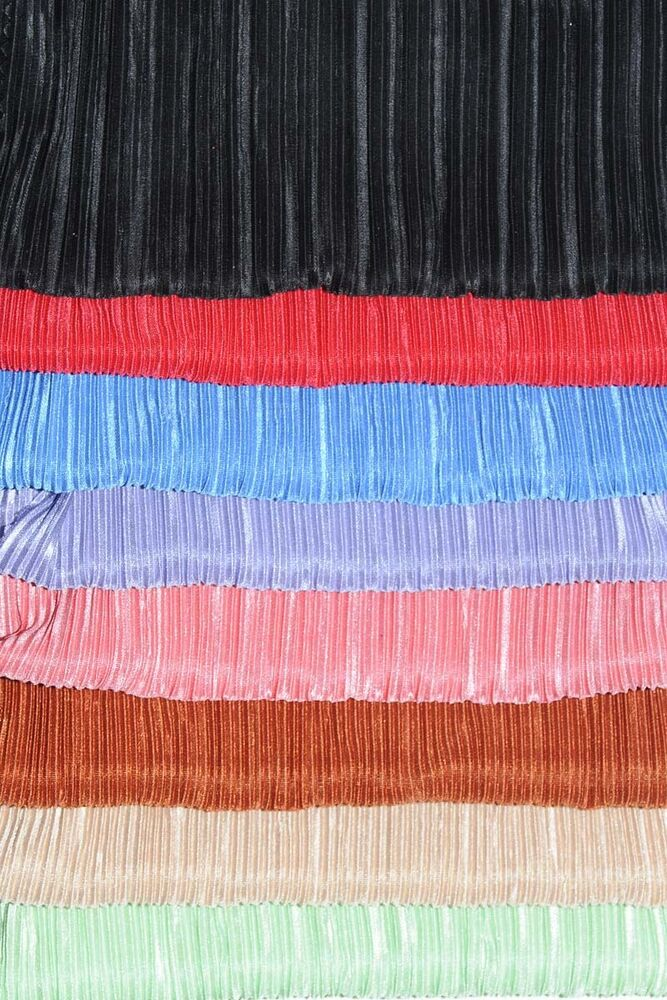 Satin Pleated Plisse Fabric Choice Of Color 1 Yard Stretch