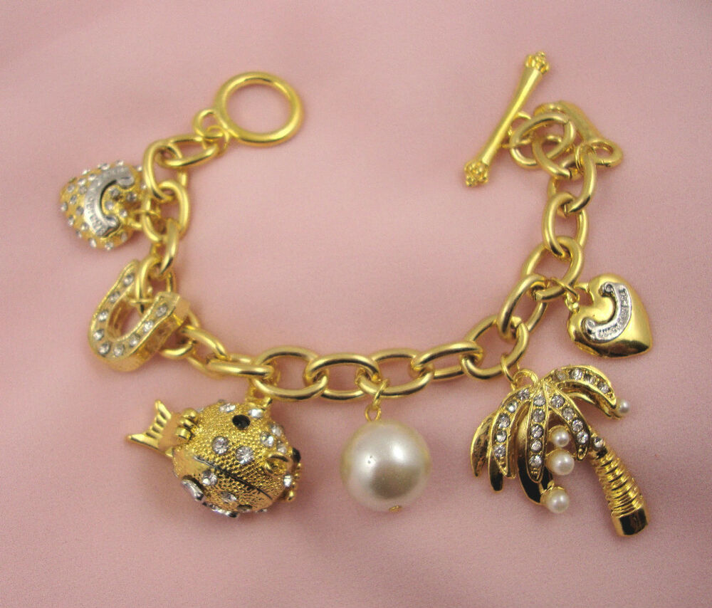 Gold Jewelry Bracelets: CHUNKY GOLD TONE & RHINESTONE CHARMS TOGGLE BRACELET