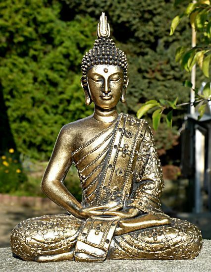 thai buddha meditation thailand budda m nch resin garten res12 ebay. Black Bedroom Furniture Sets. Home Design Ideas
