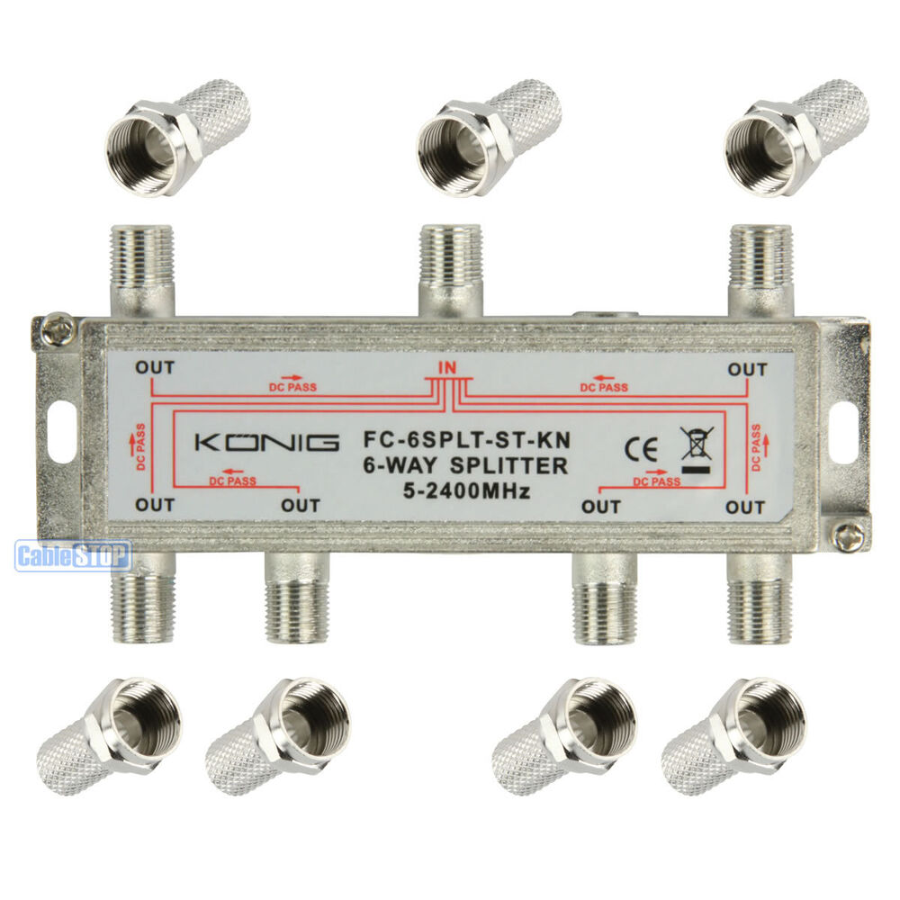 Best 3 Way Cable Splitter : In to out tv aerial satellite coaxial splitter