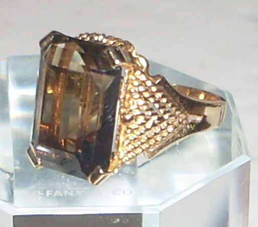 Stunning Vintage 14k Gold 15 Ct Smokey Quartz Ring Ebay