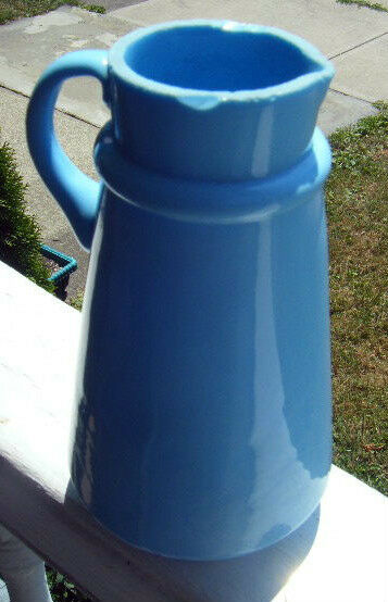 rare antique blue milk glass pitcher applied handle see