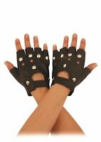 STUDDED BLACK LEATHER LOOK FINGERLESS GLOVES Fancy Dress PUNK BIKER GOTH 80s NEW
