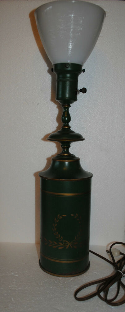 Beautiful Vintage Green Toleware Torchiere Table Lamp