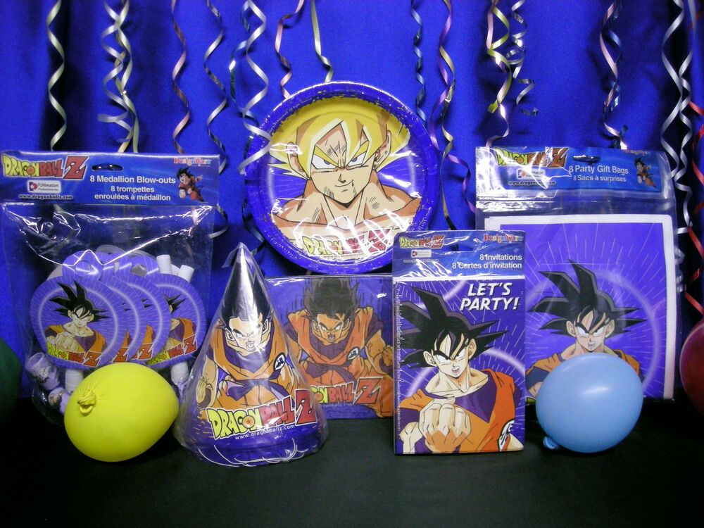 Dragonball z party set plates lootbags invites hats for Decoration dragon ball