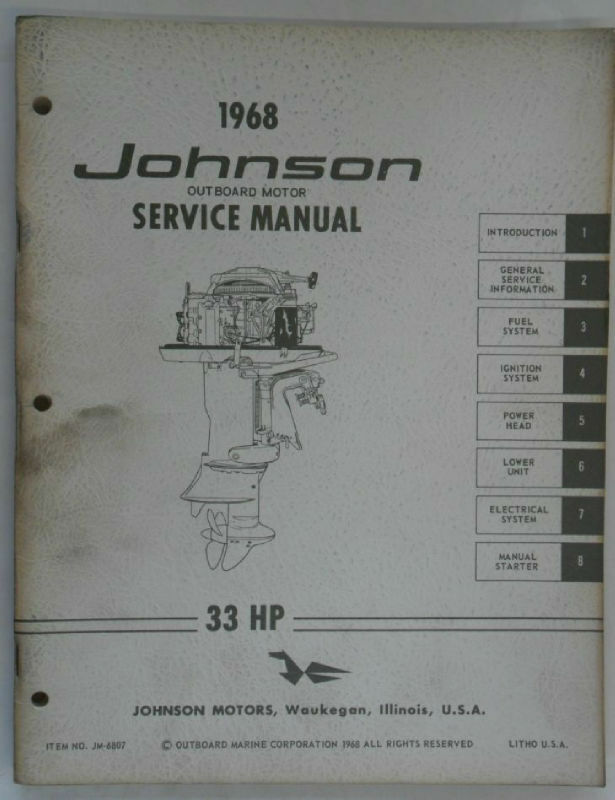 1968 Johnson Outboard Service Manual 33 Hp