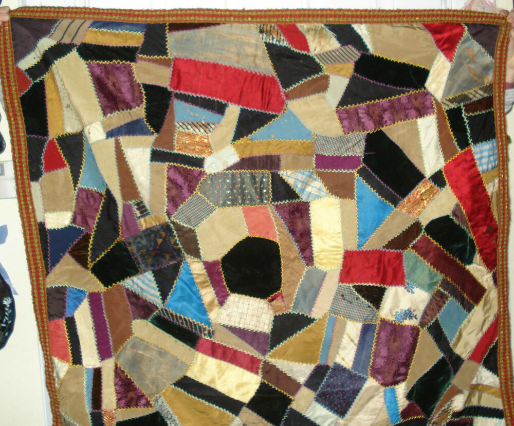 Crazy Quilt Antique 36 In X 36 In Wallhanging Versus Table