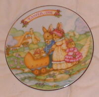 Mini Avon Plate Springtime Stroll 1991 Bunny Family Walking Gold Leaf Trim 5""