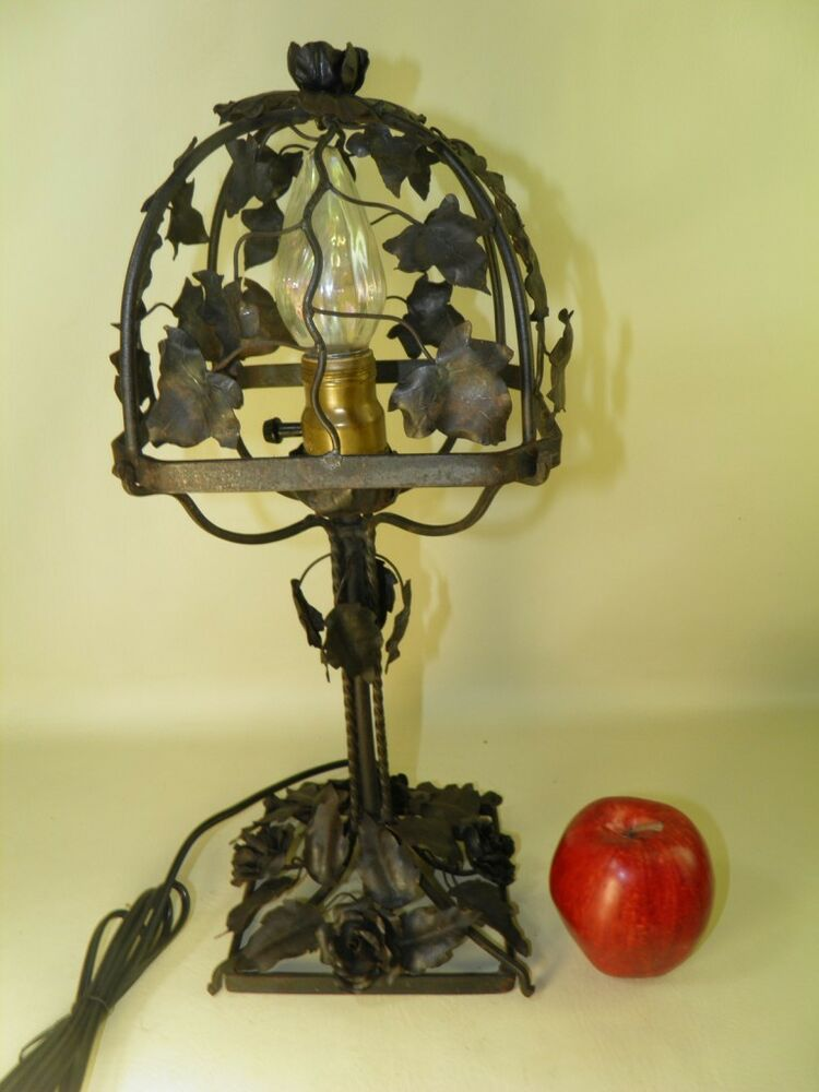 Antique Wrought Iron Hand Crafted Tole Table Lamp With Shade Ivy Roses Ebay