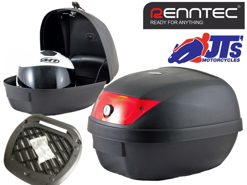 renntec 28 litr bike scooter topbox top box case luggage universal mount plate ebay. Black Bedroom Furniture Sets. Home Design Ideas