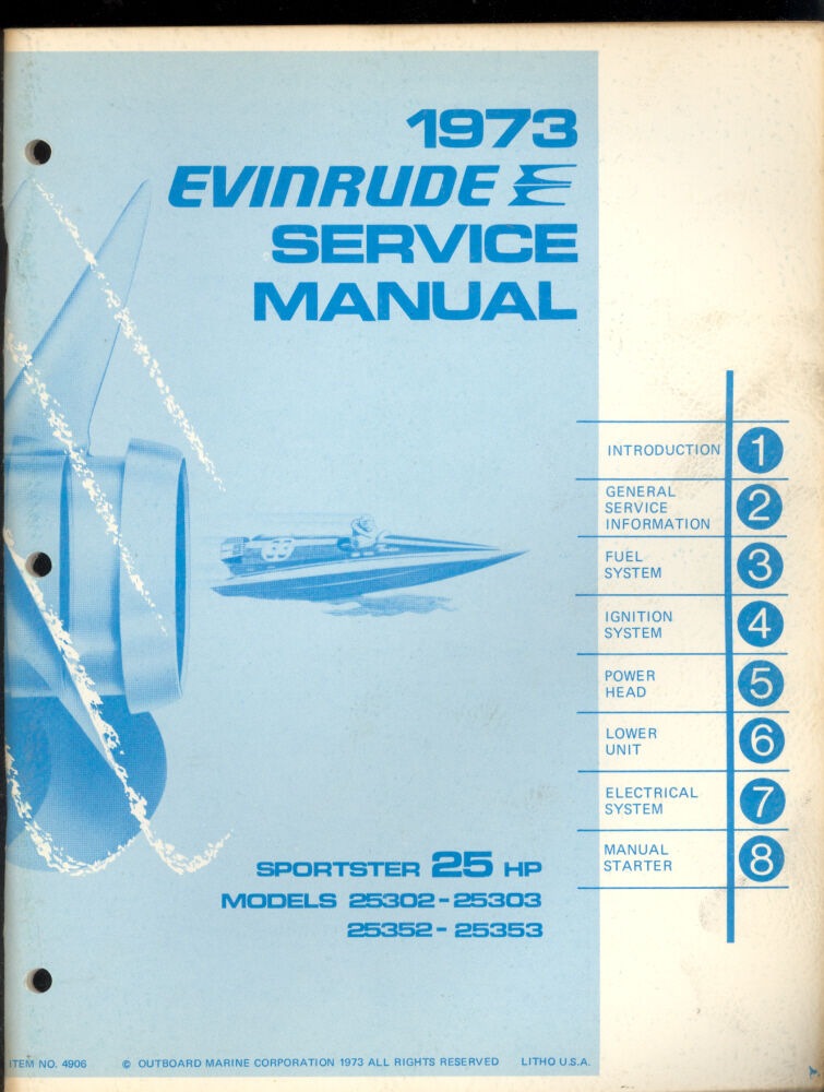 1973 evinrude 25hp outboard motor service manual ebay. Black Bedroom Furniture Sets. Home Design Ideas