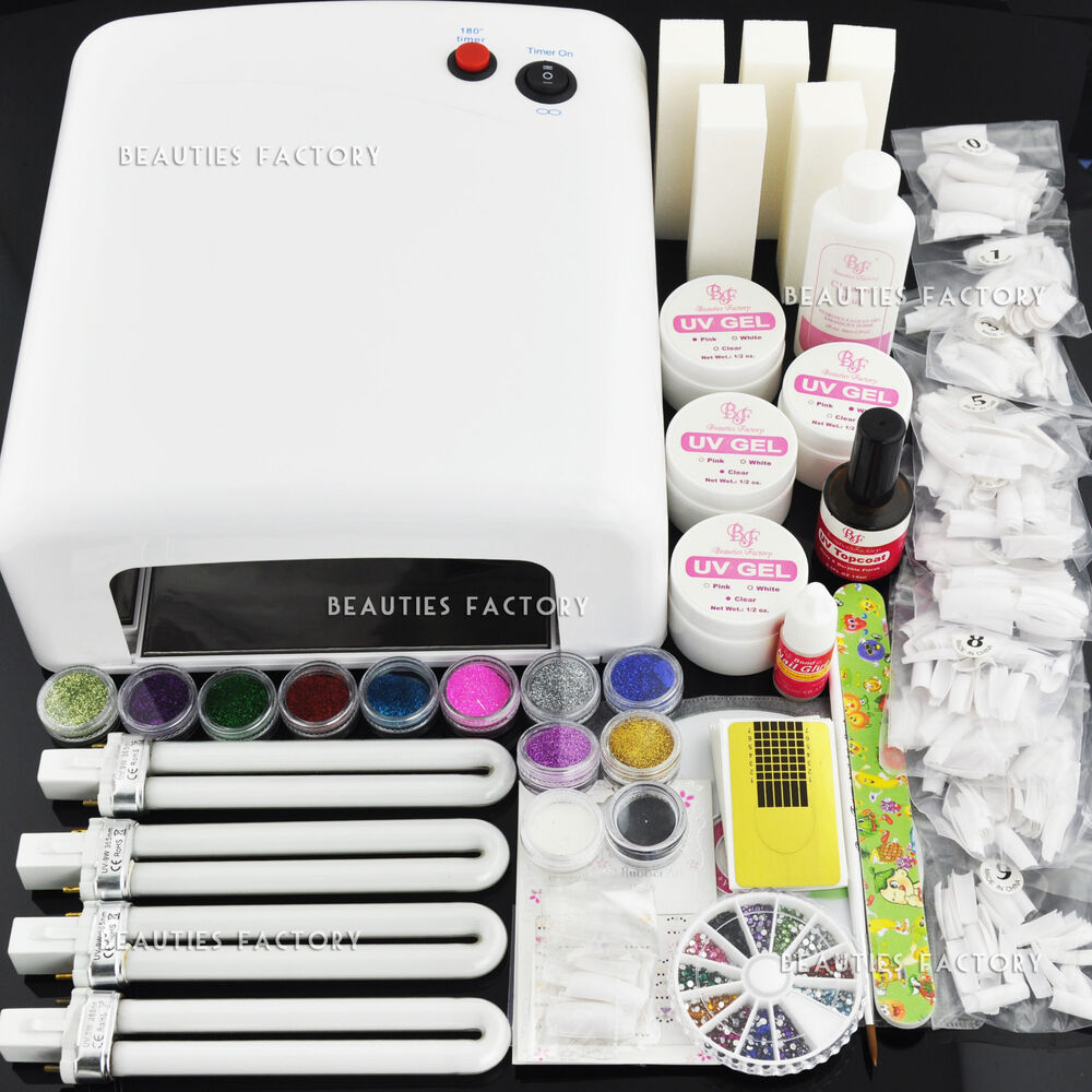 Value Set 36W UV Gel Curing Dryer Lamp + UV Gel Nail Kit