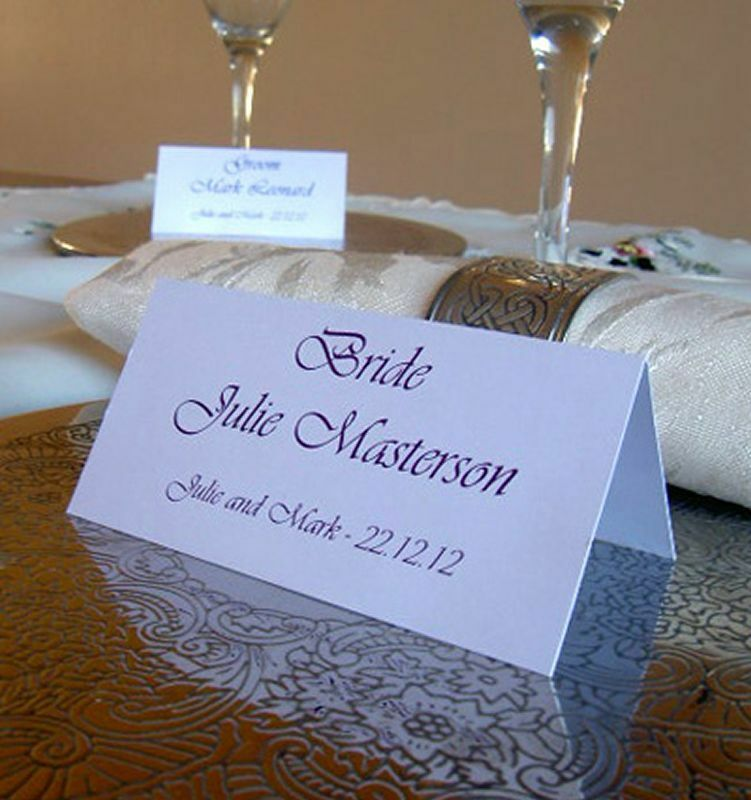 Personalised table name place cards wedding birthday for Wedding place name cards