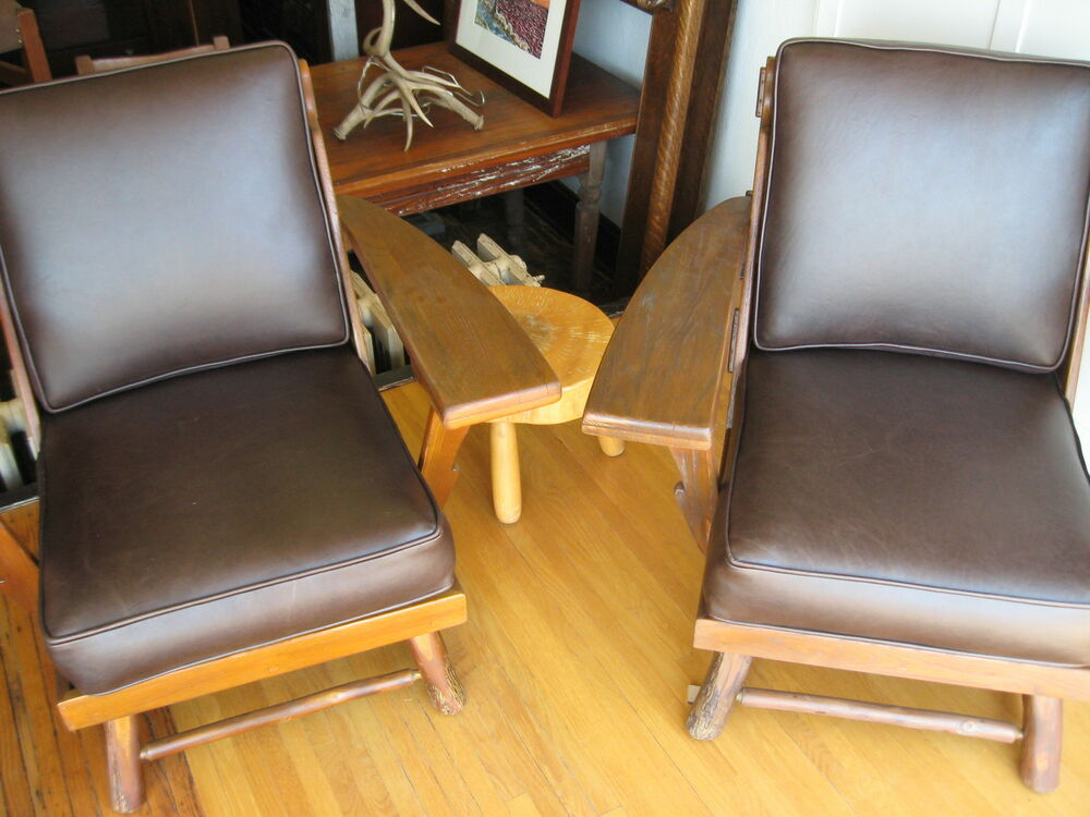Signed Old Hickory Deck Porch Chairs Set Leather 1940s