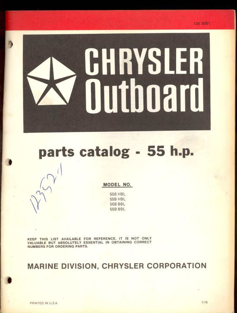 1978 Chrysler 55 Hp Outboard Motor Parts Manual