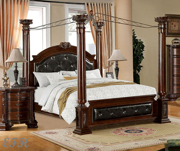 NEW MANDALAY ELEGANT LEATHERETTE BROWN CHERRY FINISH WOOD