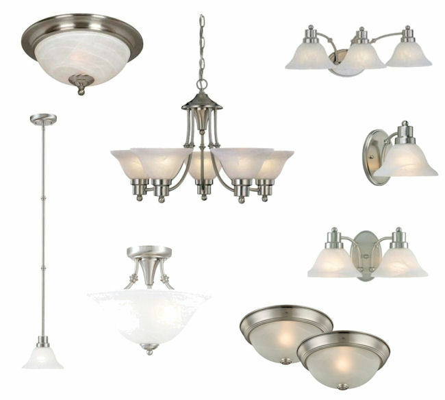 Satin Nickel Ceiling Lights, Bathroom Vanity,& Chandelier